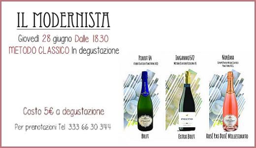 28 giugno 2018 - Degustazione Metodo Classico al Modernista di Pavia