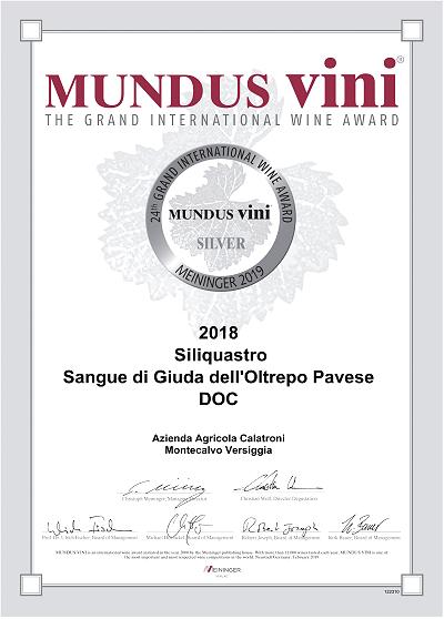 Sangue di Giuda Siliquastro 2018 - Silver Medal (Mundus Vini 2019)