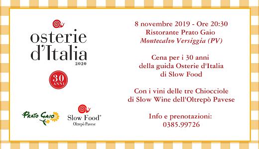Cena per i 30 anni di Osterie d'Italia Slow Food (08/11/2019)