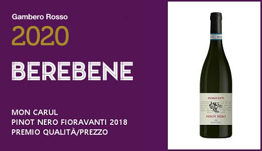 Premio qualità/prezzo per il Pinot Nero Fioravanti sul Berebene 2020