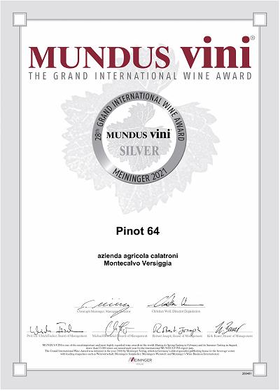 Mundus Vini 2021 - Silver Medal - Pinot 64 Brut